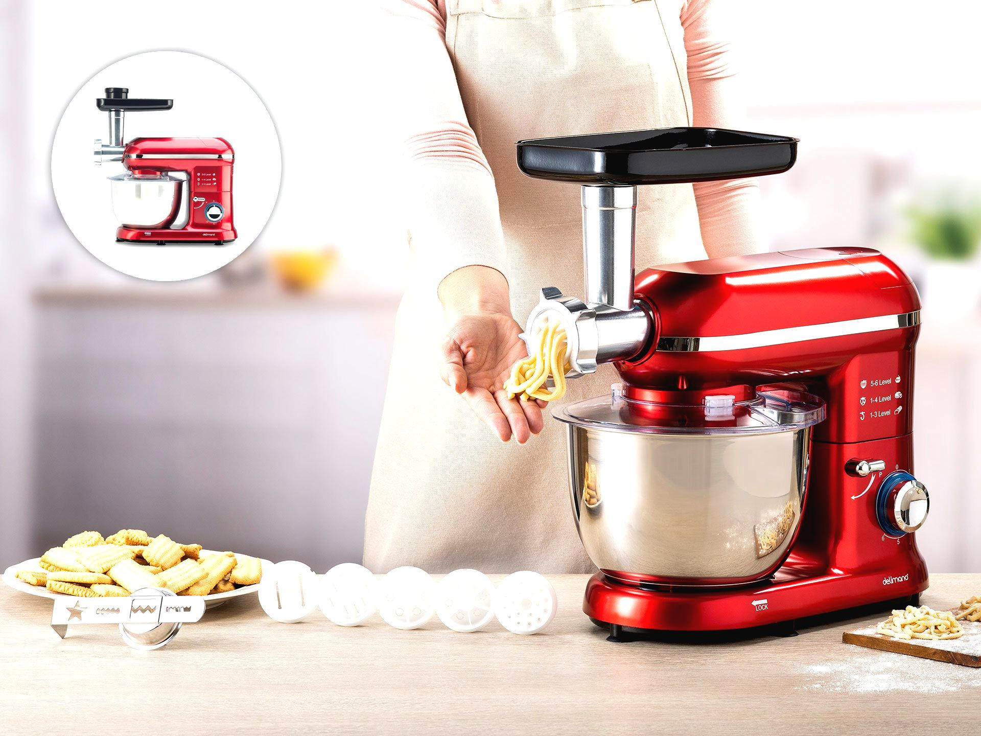 Set na výrobu cestovín a sušienok ku kuchynskému robotu Delimano